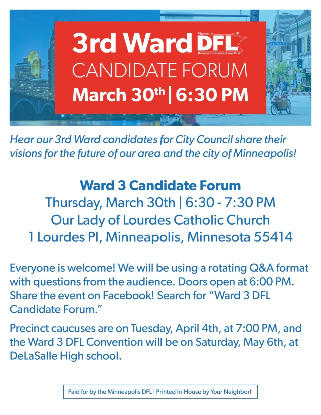 Ward 3 Candidate Forum Flyer - Color Optimized